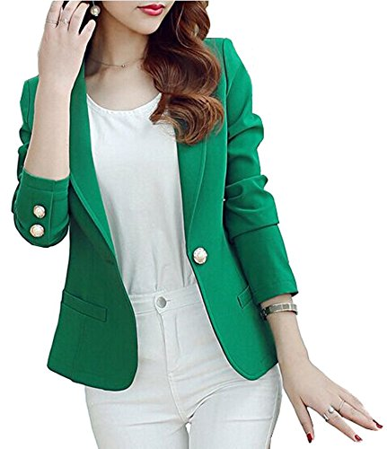 - Mikty Casual Work Office Blazer One Button Jacket for Women and Petites #3 Green US 2-4