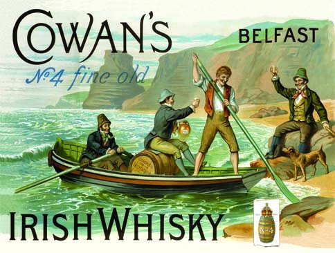 Original metals signs - Cowans No4 Irish Whisky - 15x20cm