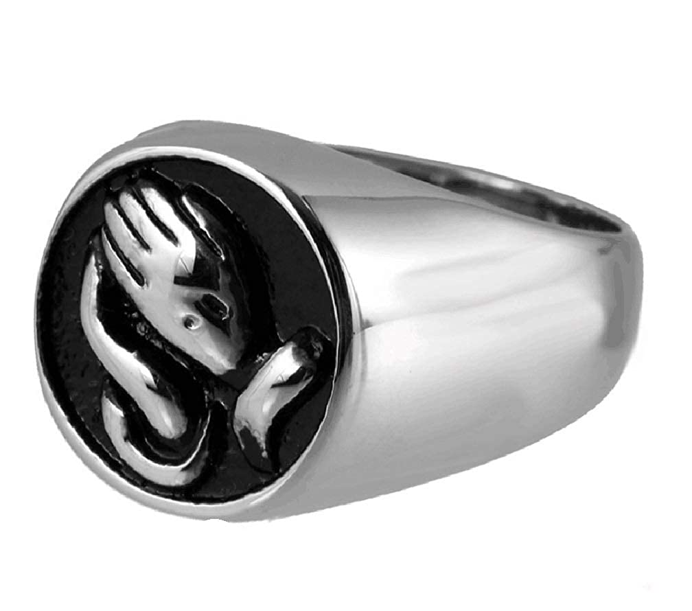 NextStone The Hand of Love Ring Stainless Steel Urn Rings Cremation Memorial Keepsake for Ashes Promise Ring Size 5#6#7#8#9#10 Electfan Jewel