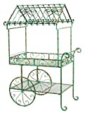 Deer Park Ironworks Deer Park TC104-BLU Large Flower Cart, Weathered Teal Blue Finish, 40''L x 27''W x 64''H, Blue Patina