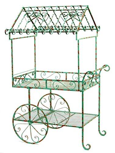 Deer Park Ironworks Deer Park TC104-BLU Large Flower Cart, Weathered Teal Blue Finish, 40''L x 27''W x 64''H, Blue Patina by Deer Park Ironworks