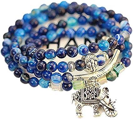 Pulsera De Piedra,Pulsera Abalorios De Piedra Natural, Azul Ágata Crystal Bracelet Natural Joyas Retro Multi-Capa Patrón Azul Elefante Pulsera De Turmalina, Prendas Personalizadas Accesorios Joyas