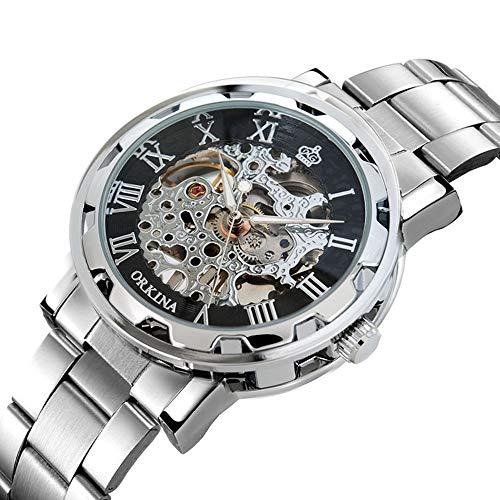 LYMFHCH Mens Luxury Classic Skeleton Mechanical Stainless Steel Watch with Link Bracelet,Dress Automatic Wrist Hand-Wind Watch ()