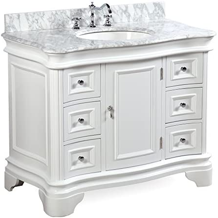 Katherine 42-inch Bathroom Vanity Carrara White Includes White Cabinet with Authentic Italian Carrara Marble Countertop and White Ceramic Sink