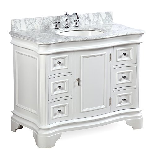 Katherine 42-inch Bathroom Vanity (Carrara/White): Includes White Cabinet with Authentic Italian Carrara Marble Countertop and White Ceramic ()