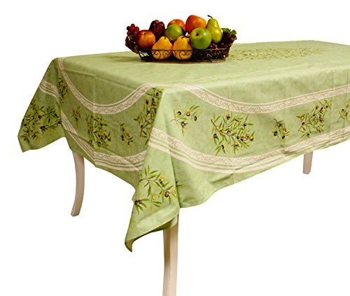 Provence Tablecloth - Coated Cotton - Olive Tree - Made in France (Green, Rectangular 98