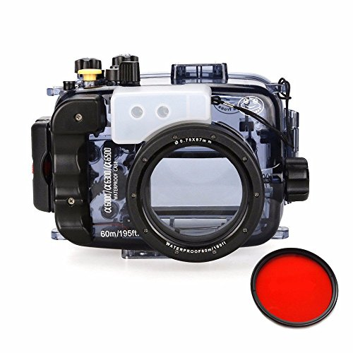 Seafrogs 40m/130ft Waterproof Underwater Camera Housing Case for A6000 A6300 A6500 Can Be Used With 16-50mm Lens w/ EACHSHOT Red Filter by Seafrogs