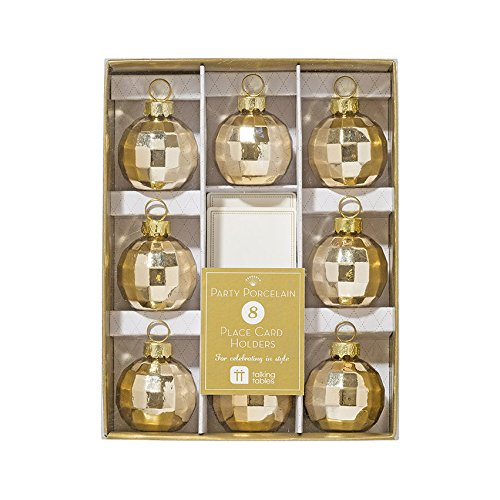 Talking Tables Gold Party Glass Bauble Table Place Card Holders (8 Pack), - Christmas Holders Place Card