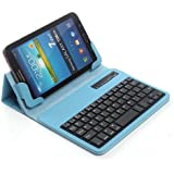 """TPCROMEER Universal 7"""" 7.0 7 Inch Tablet Folding Leather Case Cover with Removable Detachable Wireless Bluetooth Keyboard for Samsung Galaxy Tab 2 / Tab 3 / Tab 4 7 Inch, Google Nexus 7.0 / 7 FHD 2nd Generation, Kindle Fire 7"""" / HD 7"""" / HDX 7"""", iPad Mini and Other 7-Inch Android Tablets - Blue"""