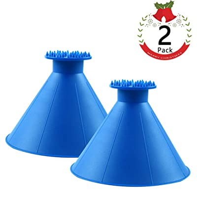 HLAA Magic Car Ice Scraper - Round Windshield Ice Scrapers Tool Portable Cone Shaped Round Funnel Car Snow Removal Shovel Tool (2 Pack): Sports & Outdoors