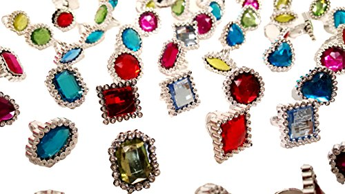 'Dondor' Rhinestone Jeweled Rings For Children (72 Piece Party Pack!) (Plastic Rings Toy)