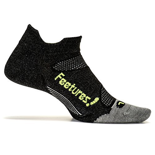 Feetures - Merino+ Cushion - No Show Tab - Athletic Running Socks for Men and Women - Charcoal + Reflector - Size Medium