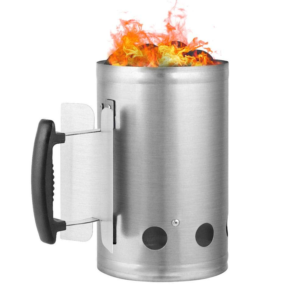 nattiness Rapid Fire Chimney Starter, Charcoal Starter Outdoor Fastest and Easiest Charcoal Chimney Starter for BBQ Grills Charcoal Grill Accessories BBQ Accessories
