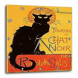 3dRose DPP_46907_2 Le Chat Noir Advertising, Art Nouveau, Black Cat, Cat, Cats, Chat Noir, Le Chat Wall Clock, 13 by 13-Inch