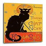 3dRose dpp_46907_2 Le Chat Noir Advertising, Art Nouveau, Black Cat, Cat, Cats, Chat Noir, Le Chat Wall Clock, 13 by 13-Inch For Sale