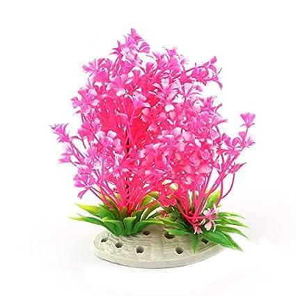 eDealMax cerámica plástico Base acuario Artificial Debajo del agua Hierba rosa planta de decoración