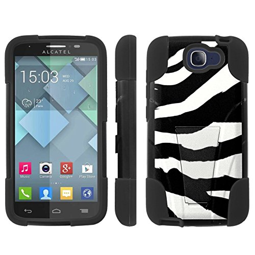 [ArmorXtreme] Case for Alcatel One Touch Fierce 2 7040 [2014] [Hybrid Armor KickStand Dual Layer Protection Case] - [Zebra Stripes] (Alcatel One Touch Pop Zebra Case)