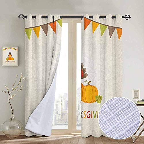 (NUOMANAN Light Blocking Curtains Turkey,Little Bird Sitting on Pumpkins with Pilgrims Hat Festive Autumn Holiday Design, Multicolor,for Bedroom, Kitchen, Living Room)