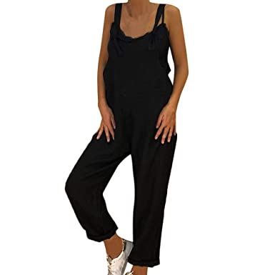 911c2873a213 Corriee Womens Linen Overall Jumpsuit Solid Color Bib Pants Wide Leg Baggy  Rompers Black