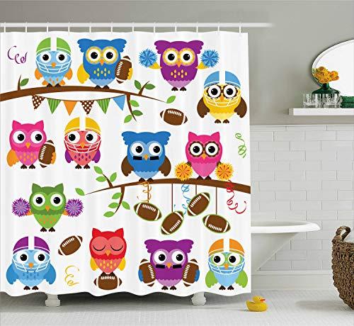 Ambesonne Owls Shower Curtain, Sporty Owls Cheerleader League Team Coach Football Themed Animals Cartoon Art Style, Cloth Fabric Bathroom Decor Set with Hooks, 70