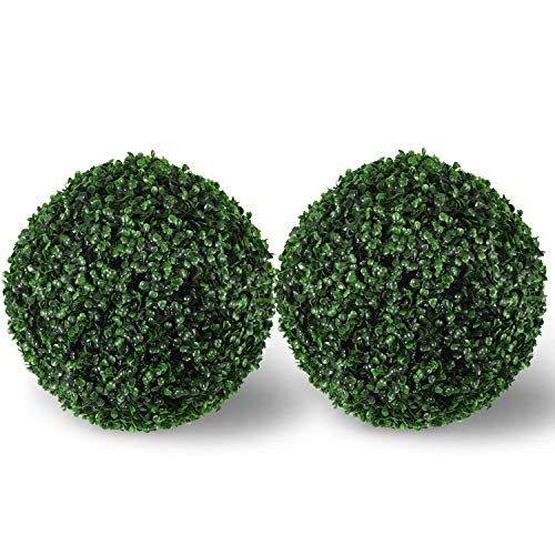 Artificial Boxwood Ball Topiary,Artificial Boxwood Ball Round Topiary for Front Patio,Planter,Deck,Garden,Backyard and Home Decor,2 Pack 13.5