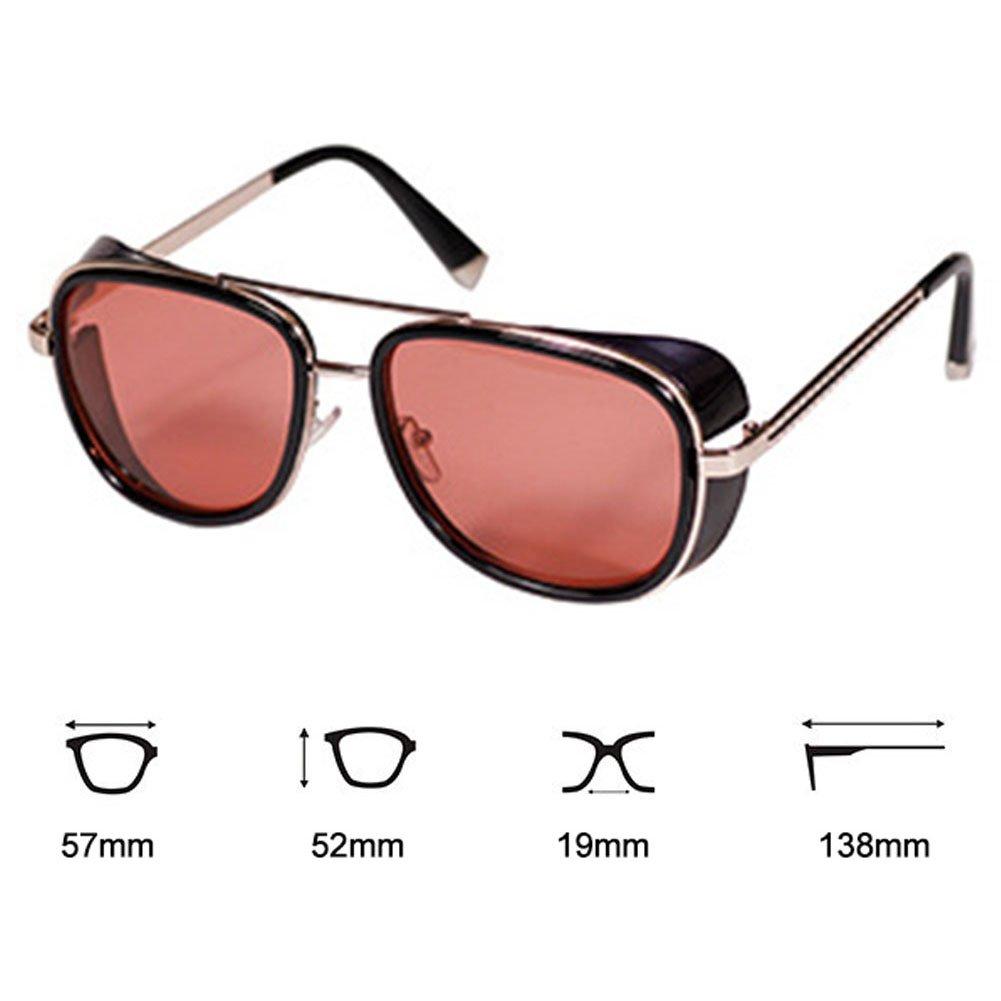 Deylay Steampunk Gafas de sol Hombre Mujer Mirrored Glasses Vintage Gafas de sol