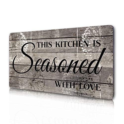 Farmhouse Kitchen Decor, Rustic Kitchen Decorations Wall Art-This Kitchen is Seasoned with Love-Decorative Signs…