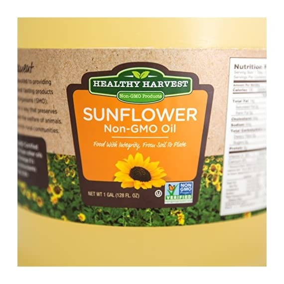 Healthy Harvest Non-GMO Sunflower Oil 3 NATURAL SUNFLOWER OIL - Bring the best of nature to your table, with our Non-GMO healthy cooking oil, created without chemicals, hydrogenation or other damaging processing. The approximate smoke point of our Sunflower oil is 450 degrees. FARM FRESH - Traceable to farm of origin, our Non-GMO Sunflower Oil is naturally processed, using physical refining methods that ensure inherent, natural antioxidants, Omega-3 fatty acids and Vitamin E are retained. NO TRANS-FATS - Enjoy flavorful meals without harmful impacts to your heart, blood sugar and overall health with this healthy cooking oil - in fact, Sunflower Oil can even help reduce your cholesterol.