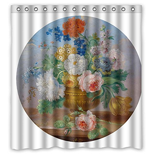 ZEEZON Famous Classic Art Painting Flowers Blossoms Polyester Christmas Shower Drape Width X Height / 66 X 72 Inches / W H 168 By 180 Cm For Girls Valentine Girls Gf. Machine Washable. Fabric Mate from ZEEZON