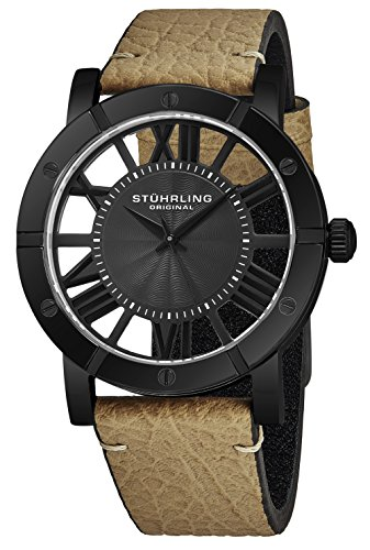 Stuhrling Original Black PVD Mens Watch Brown Leather Strap - Swiss Quartz Ronda Mvmt - Black Dial Sports Watch - 881 Watches for Men Collection -  881B.03
