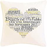 Personalised Our Anniversary Word Art Faux Silk Cushion Gift. Personalised details required. by Pure Essence Greetings