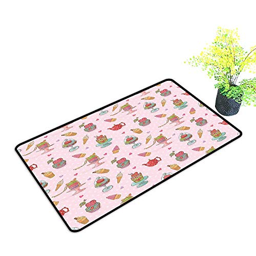 - Zmstroy Waterproof Door mat Ice Cream Decor Retro Cupcakes Teapots Candies Cookies on Polka Dots Vintage Kitchen Print W24 xL35 Suitable for Outdoor and Indoor use Multicolor