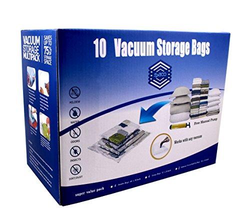 SPACO Jumbo & Large Vacuum Seal Storage Bags-Space Saver Storage Bags Works With Any Vacuum Cleaner + Free Pump(10 Bags Pack) (Space Bag Jumbo compare prices)