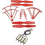 Upgraded Spare Parts Replacement for Syma X5UW X5UC RC Quadcopter Rc Helicopter Copter Toy Motor Main Blade Propellers Propeller Protectors Blades Frame Landing Skid with Screws Set (Red)