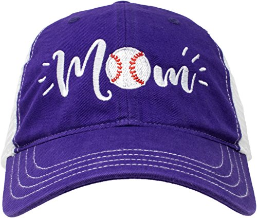 Baseball Mom Hat | Cute Team Color Fan Cap for Women - Purple