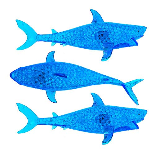Mozlly Jumbo Squishy Color Changing Light Up Bead Filled Gooey Anti Stress Ball Toy Sharks, 7.5 inch Galaxy Sea Animals LED Party Goodie Bags Birthday Favors for Kids Children (3 Items)