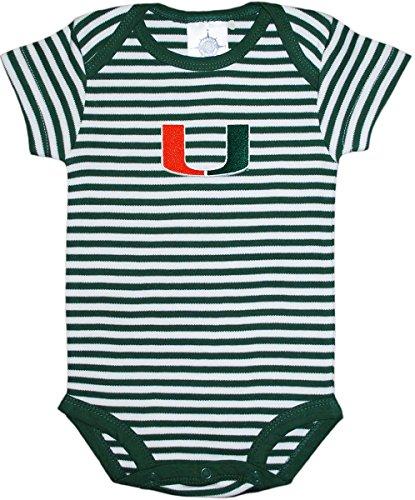 University of Miami Hurricanes Baby Striped Bodysuit Hunter/White