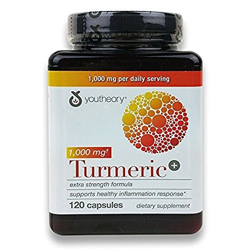 Youtheory Turmeric Extra Strength Formula Capsules 1,000 mg per Daily, 2Pack (120 Count Each )