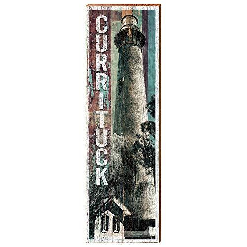 - Currituck Lighthouse Shabby Coastal Home Decor Art Print on Real Wood (9.5