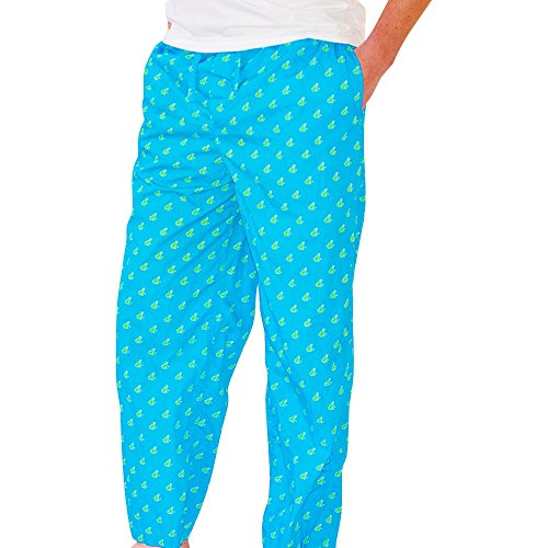 SummerTies Unisex Frog Cotton Pajama Bottom Pants - Blue, Small
