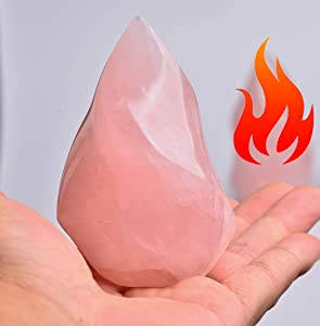 AMOYSTONE Rose Quartz Flame Healing Crystal Tower Energy Meditation Crystal Decoration for Home 0.6-1.0LB