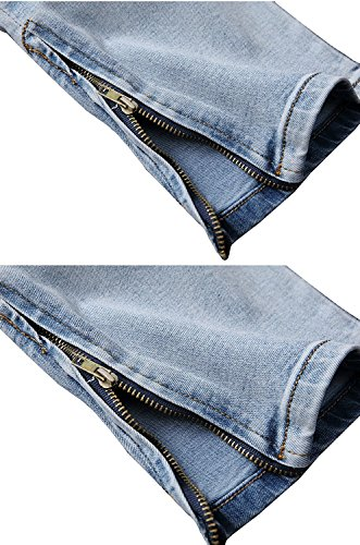Kool Classic Men's Skinny Ripped Slim Straight Fit Zipper Jeans With Holes Light Blue US 36/Tag 38