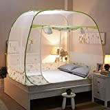 HEXbaby Pop-Up Mosquito/Folding Mosquito Net Tent Canopy Curtains for Beds Anti Mosquito Bites Folding Design with net Bottom for Babys Adults Trip,180220cm