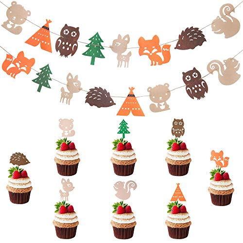 Woodland Themed Party Supplies Set Woodland Creatures Banner Forest Animals Felt Garland Cupcake Toppers For Birthday Wedding Baby Shower Party Decor (16pcs Toppers and 2pcs -