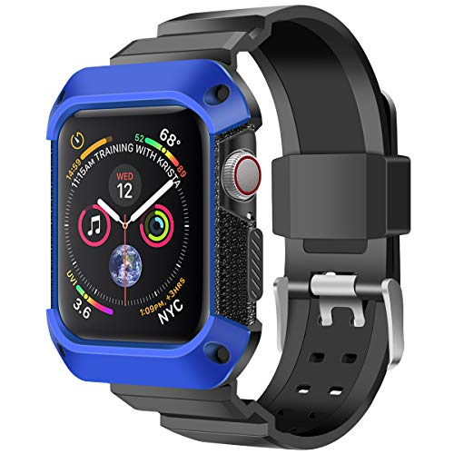 PINHEN Compatible for Apple Watch Protective Case with Strap Band S4 44MM - Rugged Cover Shock Resistant Bumper Case with Strap for iWatch Apple Watch Series 4, Blue