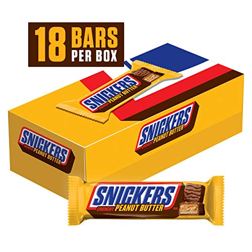 Snickers Peanut Butter Squared Singles Size Chocolate Candy Bars 1.78-Ounce Bar 18-Count Box -