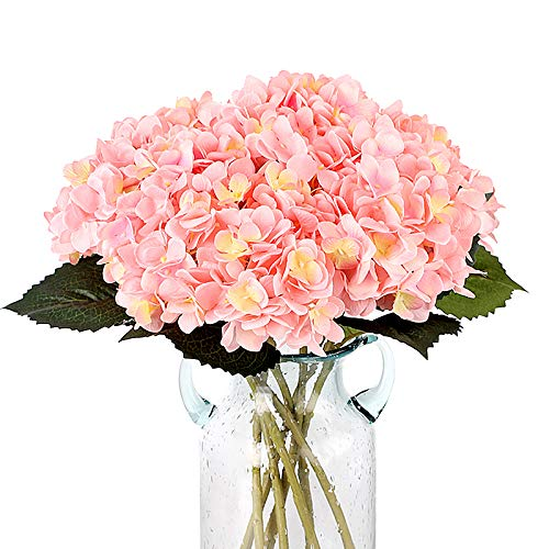 Louiesya Pack of 3 Artificial Hydrangea Silk Flowers Bouquet Faux Hydrangea Stems for Wedding Centerpieces Home Decor(Pink) (Flowers Hydrangea Faux)