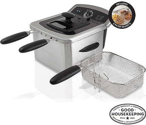 Farberware 103736 4L Dual Basket Deep Fryer, Stainless Steel