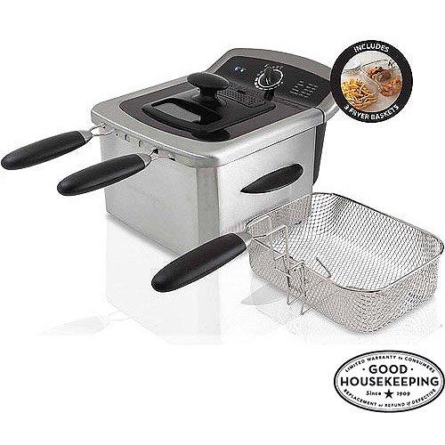 Farberware 103736 4L Dual Basket Deep Fryer, Stainless Steel (Stainless Farberware Steel Fryer Deep)