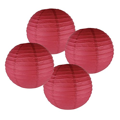 Just-Artifacts-10-Dark-Red-Paper-Lanterns-Set-of-4-Click-for-more-ChineseJapanese-Paper-Lantern-Colors-Sizes